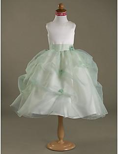 Ball Gown Tea-length Flower Girl Dress - Organza Satin Jewel with Flower(s) Pick Up Skirt