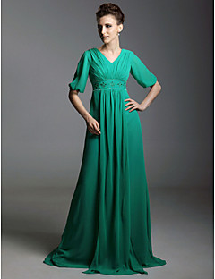 Formal Evening / Military Ball Dress - Jade Plus Sizes / Petite A-line V-neck Sweep/Brush Train Chiffon