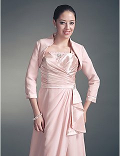 Wedding  Wraps Coats/Jackets 3/4-Length Sleeve Chiffon / Satin Pearl Pink Wedding / Party/Evening High Neck Open Front