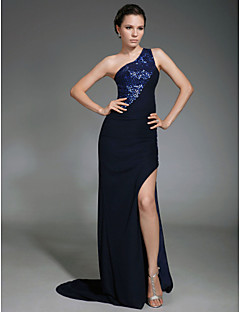 TS Couture Formal Evening Military Ball Dress - Furcal Celebrity Style Sheath / Column One Shoulder Sweep / Brush Train Chiffon with