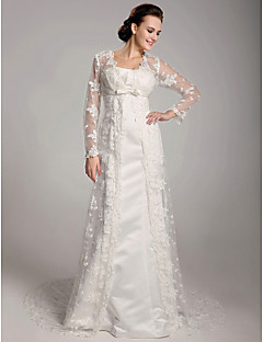 Lan Ting Sheath/Column Plus Sizes Wedding Dress - Ivory Sweep/Brush Train Square Satin/Lace