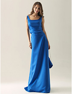 Lanting Bride® Floor-length Satin Bridesmaid Dress Sheath / Column Square / StrapsApple / Hourglass / Inverted Triangle / Pear /
