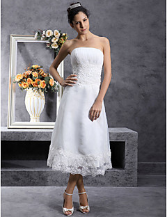 Lanting Bride A-line / Princess Petite / Plus Sizes Wedding Dress-Tea-length Strapless Organza