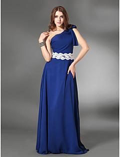 칼집 / 칼럼 한쪽 어깨 층 길이 쉬폰 / 새틴 이브닝 드레스