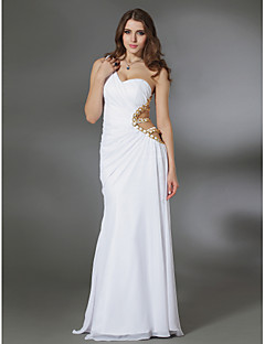 Formal Evening/Military Ball Dress - White Plus Sizes Sheath/Column One Shoulder Floor-length Chiffon