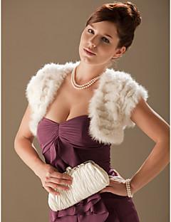 Short Sleeves Rabbit Fur Special Occasion Evening Jacket/ Wrap Bolero Shrug
