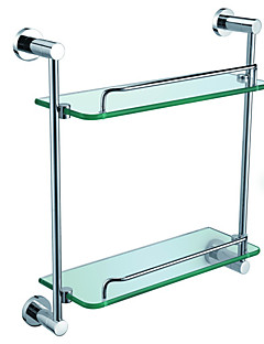 Bathroom Accessories Solid Brass Double Glass Shelf (0640-3316)