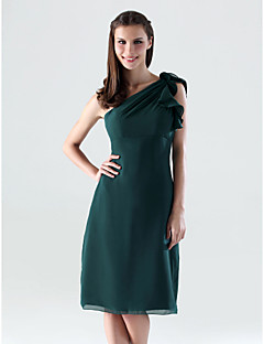 Knee-length Chiffon Bridesmaid Dress - Dark Green Plus Sizes Sheath/Column One Shoulder