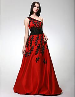 프롬/저녁 정장파티/스위트 16 드레스 - 루비 A라인/프린세스 바닥 길이 원 숄더 사틴 플러스 사이즈