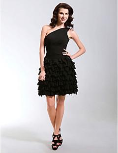 Coquetel / Baile de Debutante Vestido - Vestidinho Preto Linha A / Princesa Mula Manca Curto / Mini Chiffon comDrapeado Lateral / Em