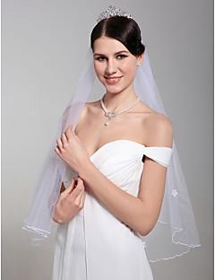 2 lager vackra armbågen bröllop slöja