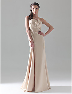 Floor-length Satin Bridesmaid Dress - Champagne Plus Sizes / Petite A-line / Princess / Trumpet/Mermaid Strapless