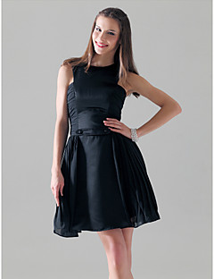 Satin Chiffon A-line Jewel Short/ Mini Cocktail Dress