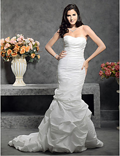 LAN TING BRIDE Trumpet / Mermaid Wedding Dress - Classic & Timeless Simply Sublime Court Train Sweetheart Taffeta withButton Pick-Up