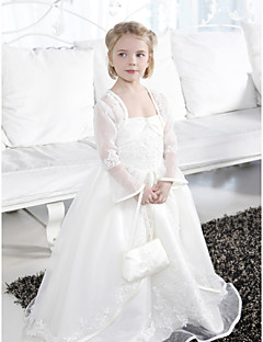 Lanting Bride ® Ball Gown Floor-length Flower Girl Dress - Organza / Satin Sleeveless Spaghetti Straps with Appliques