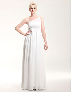 Formal Evening/Military Ball Dress - Ivory Plus Sizes Sheath/Column One Shoulder Floor-length Chiffon