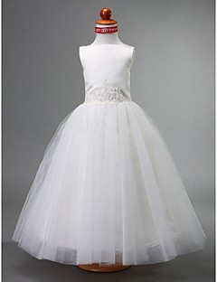 Lanting Bride A-line / Ball Gown / Princess Floor-length Flower Girl Dress - Satin / Tulle Sleeveless Bateau with Beading / Draping