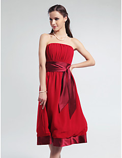 Knee-length Chiffon / Stretch Satin Bridesmaid Dress - Ruby Plus Sizes / Petite A-line Strapless