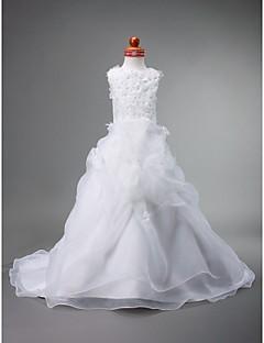 Ball Gown Court Train Flower Girl Dress - Satin/Organza Sleeveless