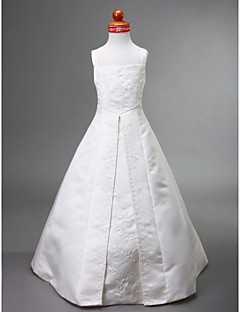 Lanting Bride ® A-line / Princess Floor-length Flower Girl Dress - Satin Sleeveless Square / Straps with Appliques