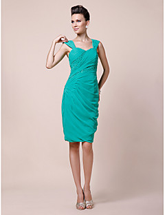 Lanting Sheath/Column Plus Sizes / Petite Mother of the Bride Dress - Jade Knee-length Sleeveless Chiffon