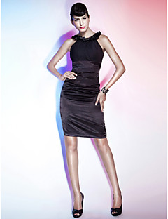 TS Couture® Cocktail Party / Holiday Dress - Little Black Dress Plus Size / Petite Sheath / Column Scoop Knee-length Chiffon / Stretch Satin