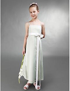 Over de knie Stretchsatijn Junior bruidsmeisjesjurk A-lijn / Prinses Spaghettibandjes Naturel met Strik(ken) / Sjerp / Lint
