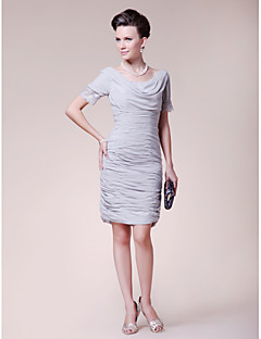Lanting Sheath/Column Plus Sizes / Petite Mother of the Bride Dress - Silver Knee-length Short Sleeve Chiffon