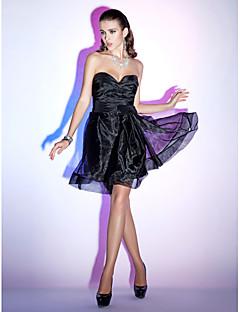 칵테일 파티/휴가 드레스 - 블랙 A라인/프린세스 무릎길이 스트랩 없음/스위트하트 오르간자 플러스 사이즈