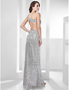 TS Couture Formal Evening Military Ball Dress - Sparkle & Shine Beautiful Back Celebrity Style Sheath / Column One Shoulder Floor-length