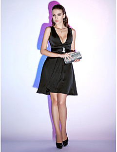 TS Couture® Cocktail Party / Holiday Dress - Little Black Dress Plus Size / Petite A-line / Princess V-neck Short / Mini Chiffon with Draping / Sash