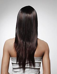 capless 긴 백퍼센트 머리카락 진한 갈색 스트레이트 헤어 가발 다섯 색상은 선택할 수