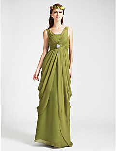 Floor-length Chiffon Bridesmaid Dress Sheath / Column V-neck / Straps Plus Size / Petite with Crystal Detailing / Draping / Ruching