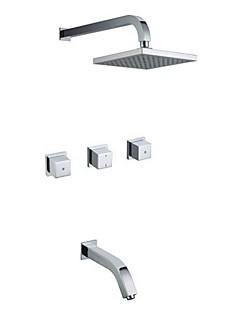現代風 バスタブとシャワー レインシャワー with  セラミックバルブ 二つのハンドル5つの穴 for  クロム , シャワー水栓 / 浴槽用水栓