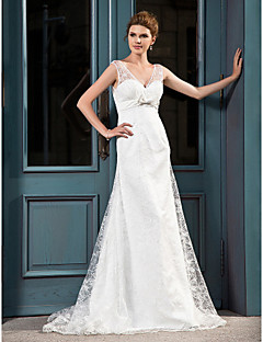 Lanting A-line V-neck Court Train Lace Satin Wedding Dress
