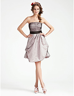 Homecoming Cocktail Party/Wedding Party Dress Plus Sizes A-line/Princess Strapless Knee-length Satin/Tulle