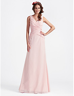 Lanting Bride® Floor-length Chiffon Bridesmaid Dress - A-line / Princess V-neckApple / Hourglass / Inverted Triangle / Pear / Rectangle /