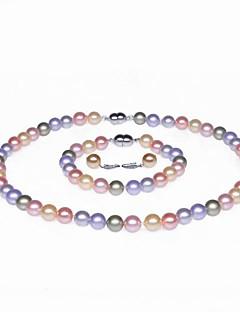 enkele streng AA + parel ketting, armband en oorbellen set (meer kleuren)