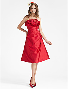 Knee-length Taffeta Bridesmaid Dress - Ruby Plus Sizes / Petite A-line / Princess Strapless