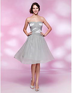 Homecoming Cocktail Party/Homecoming Dress - Silver Plus Sizes A-line/Princess Strapless/Sweetheart Knee-length Chiffon/Stretch Satin