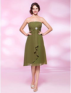 Cocktail Party Dress - Clover Plus Sizes A-line/Princess Strapless Knee-length Chiffon