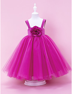 A-line / Ball Gown / Princess Floor-length Flower Girl Dress - Satin / Tulle Sleeveless Square / Straps with Draping / Flower(s)