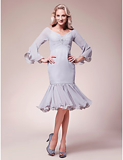 Lanting Trumpet/Mermaid V-neck Knee-length Chiffon Mother of the Bride Dress