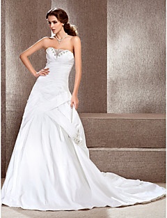 Lanting A-line Sweetheart Court Train Taffeta Satin Side-draped Wedding Dress