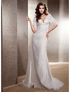 Trumpet/Mermaid Plus Sizes Wedding Dress - Ivory Sweep/Brush Train V-neck Lace