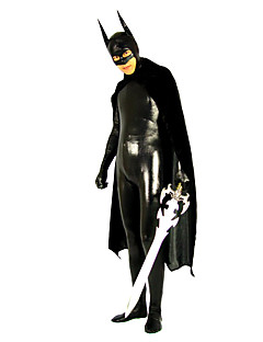 Black Shiny Metallic Spandex Zentai Batman cosplay for men