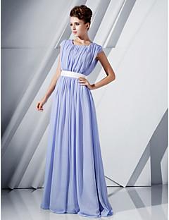 저녁 정장파티/밀리터리 볼 드레스 - 라벤더 A라인/프린세스 바닥 길이 스쿱 쉬폰 플러스 사이즈