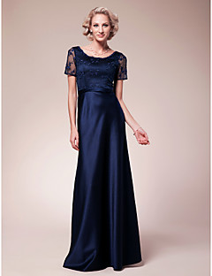 Lanting Sheath/Column Plus Sizes / Petite Mother of the Bride Dress - Dark Navy Floor-length Short Sleeve Lace / Satin