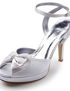 satén horní vysokým podpatkem strappy sandály s drahokamu / bowknot boty svatební svatební