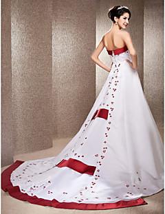 Lanting Bride A-line / Princess Petite / Plus Sizes Wedding Dress-Chapel Train Strapless Satin